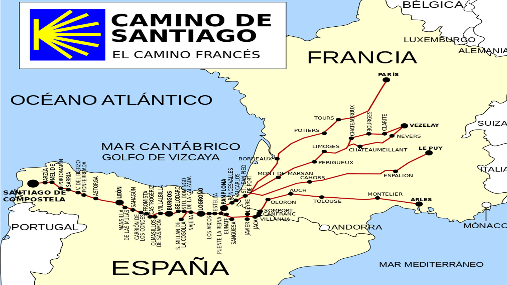 map of camino de santiago with Las 31 Etapas Del Camino Frances on El Camino De Santiago furthermore EuroVelo in addition About P lona Navarra furthermore 1F7 also Tramos descripcion general.