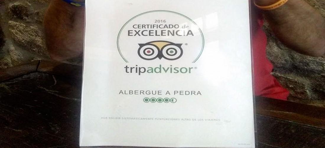 Certificado de Excelencia de TripAdvisor para Albergue A Pedra